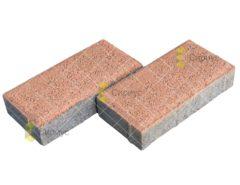 Оранжевая тротуарная плитка (брусчатка), 2П4, имитация гранита